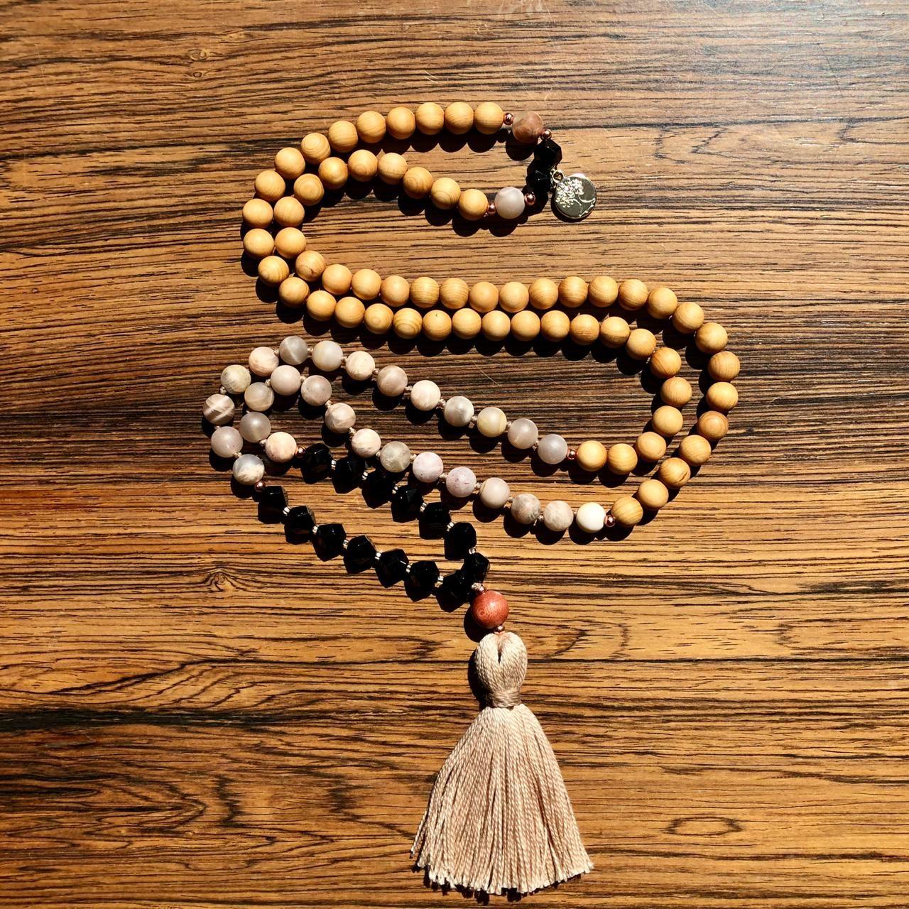 Mala 108 Beaded Necklace Druzy Gold 8mm Agate Moonstone Mala Necklace