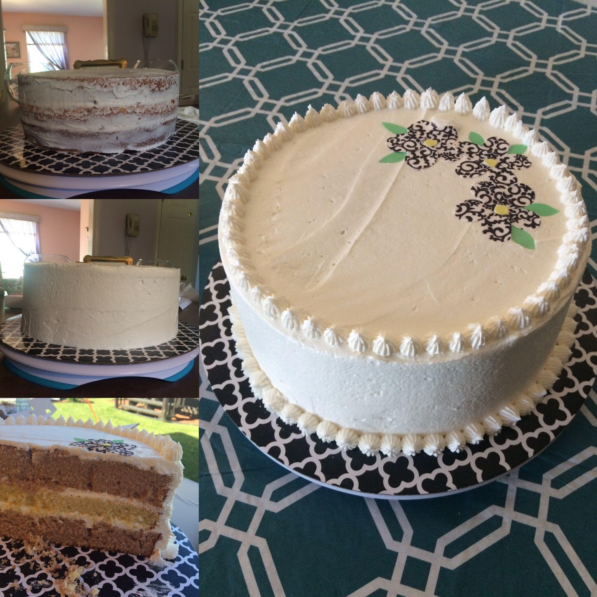 Vanilla cake layer: http://www.rachaelrayshow.com/recipe/14376_The_Cake_Boss_Vanilla_Cake/  Strawberry cake layers: http://www.mycakeschool.com/recipes/strawberry-scratch-recipe/  Buttercream frosting: http://www.craftymorning.com/best-buttercream-frosting-recipe/
