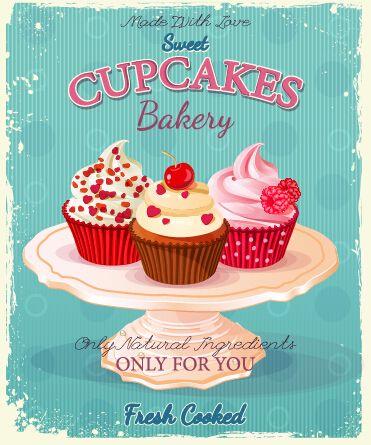 Retro advertising poster cupcakes vector 01 | Quadros para ...