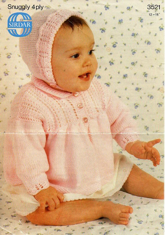 362a980cf Baby matinee coat bonnet knitting pattern pdf 4ply premature baby ...