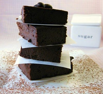 Black bean & Avocado brownies (Don't be scared.) This is a low-fat, gluten-free dessert.   >>>  I'm subbing out 3/4 cup egg substitute for three eggs, and agave nectar for honey and/or maple syrup