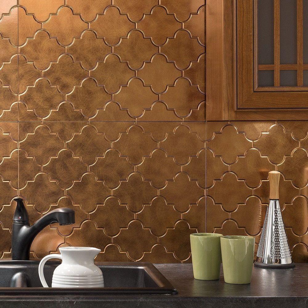 - Fasade Monaco Antique Bronze Backsplash Panel (Sample), Gold