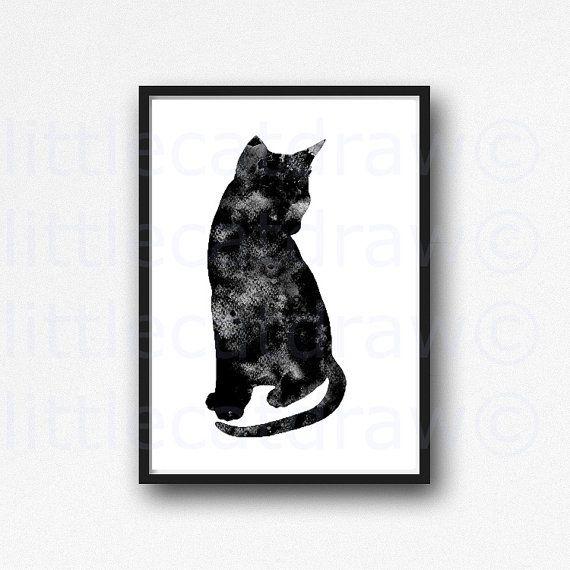 Sitting Pretty Black Cat Print WATERCOLOR Cat Art by Littlecatdraw