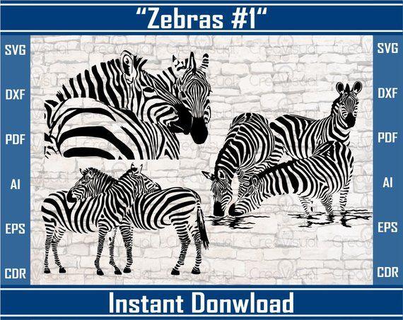 Zebras Svg, Vector Animals Zebra Clipart, vector files, Dxf File