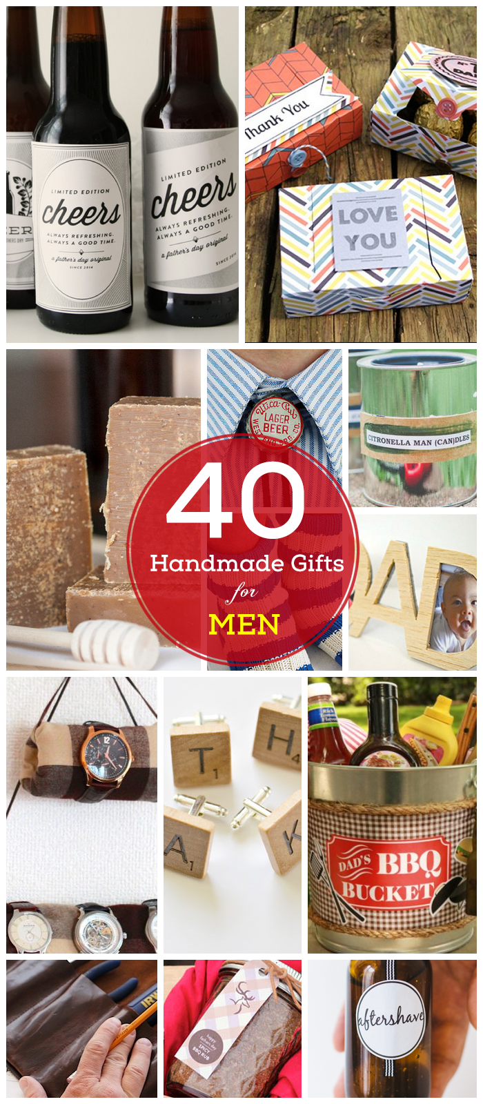 Great list of 25 handmade Christmas gift ideas for men. There is a DIY gift