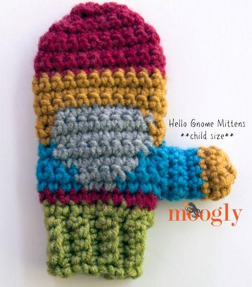 Hello Gnome Mittens: Free #Crochet Pattern on Moogly!   Häkeln