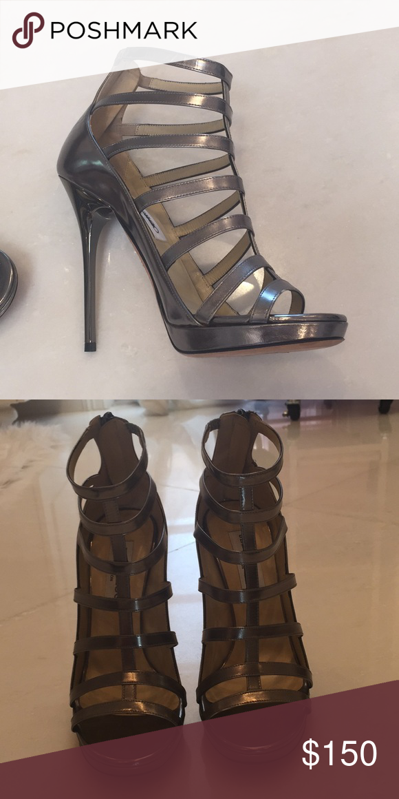 d479629c84a Jimmy Choo high heel caged sandals in pewter. Caged Jimmy Choo ...