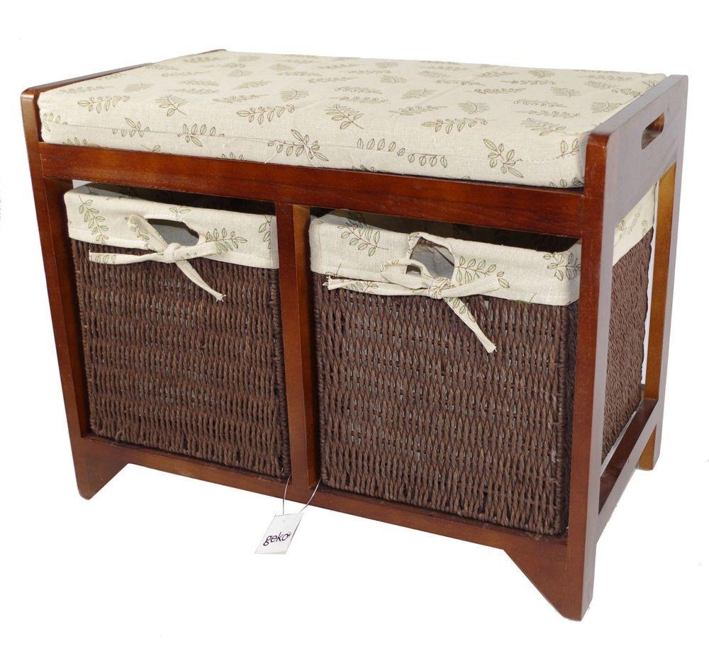 Wooden Framed Storage Bench Seagrass Baskets Seat Cushion