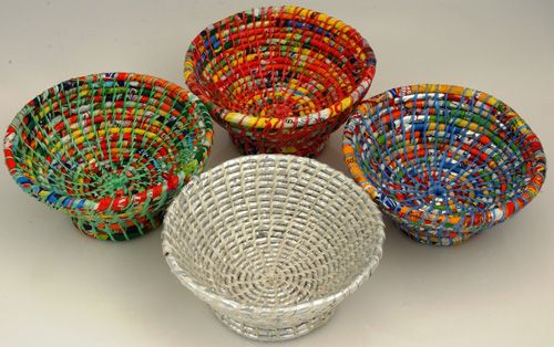 More colorful bowls from the s p i r a l foundation made for Things to make out of recycled items