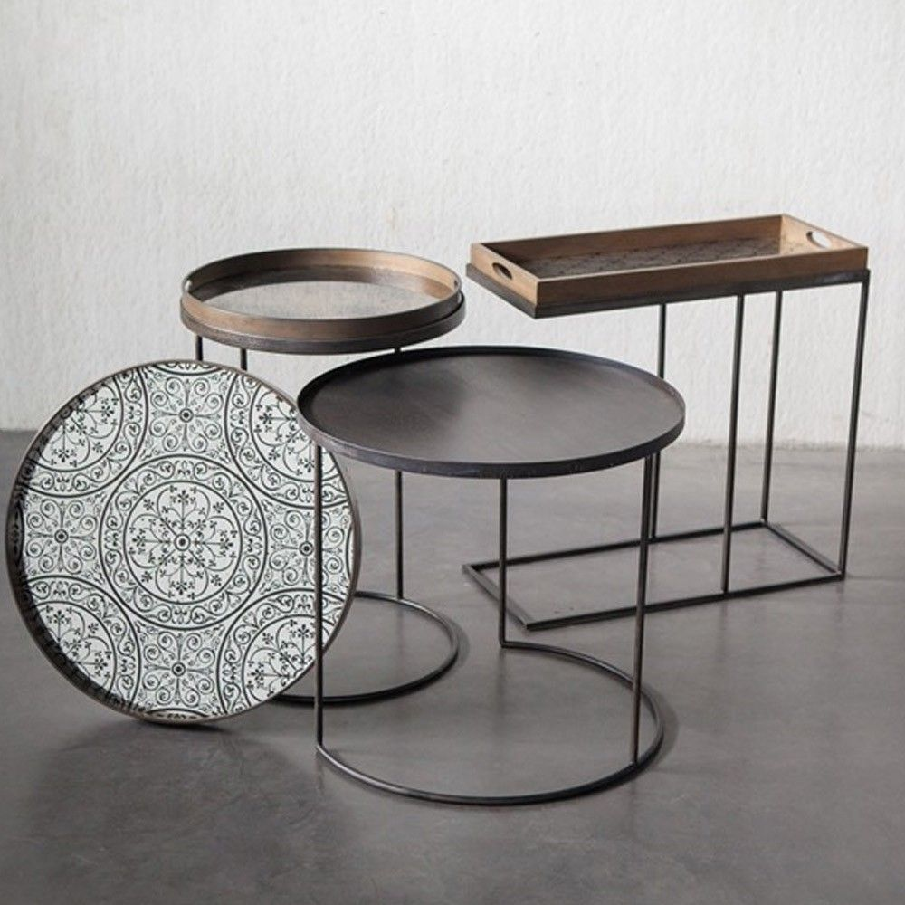 Captivating Notre+Monde+Set+of+2+Round+Tray+Table+