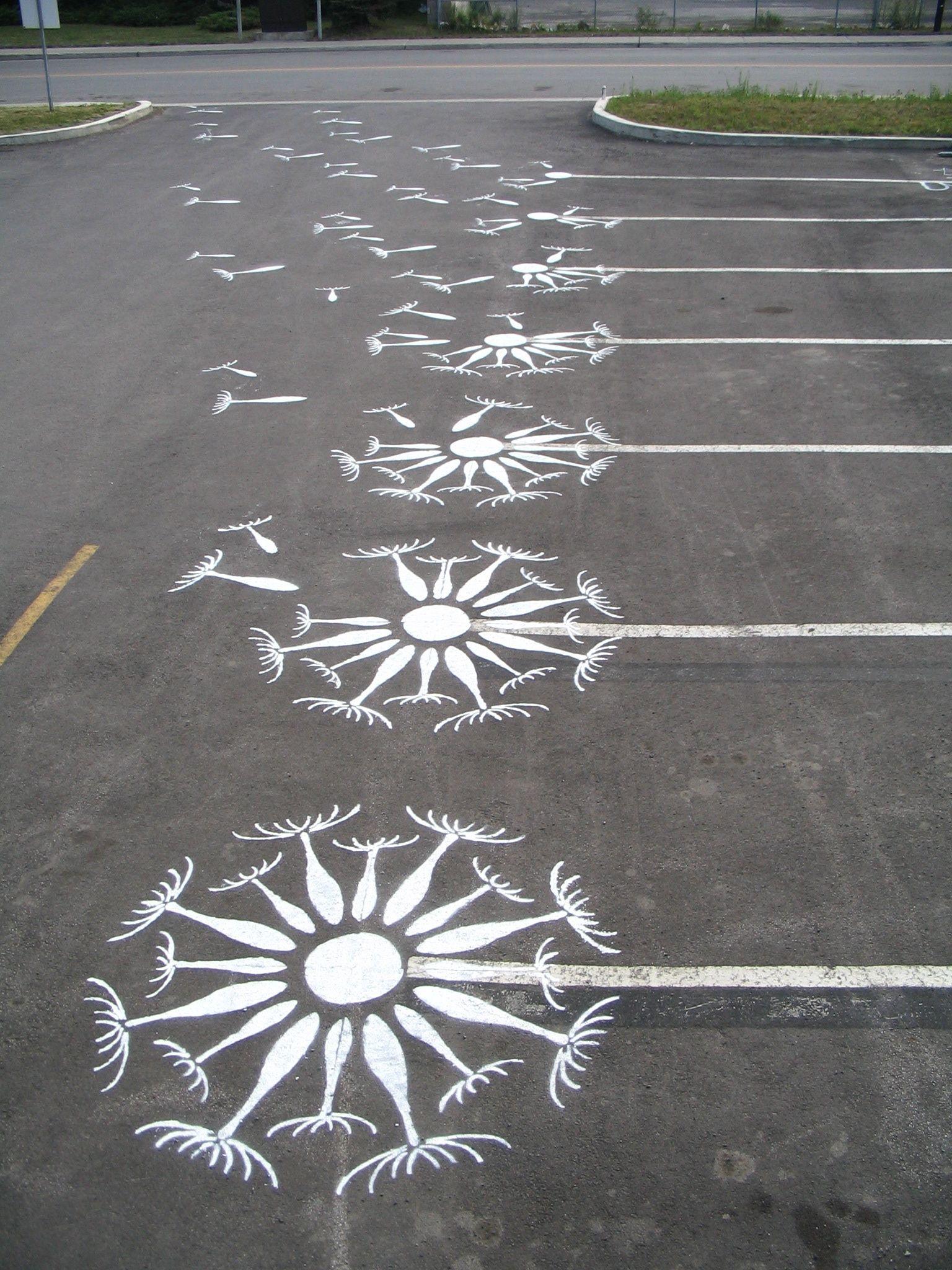 Graffiti art diy - Diy Go Graffiti A Parking Lot Wind Blowing Dandelion Seeds Into The Air