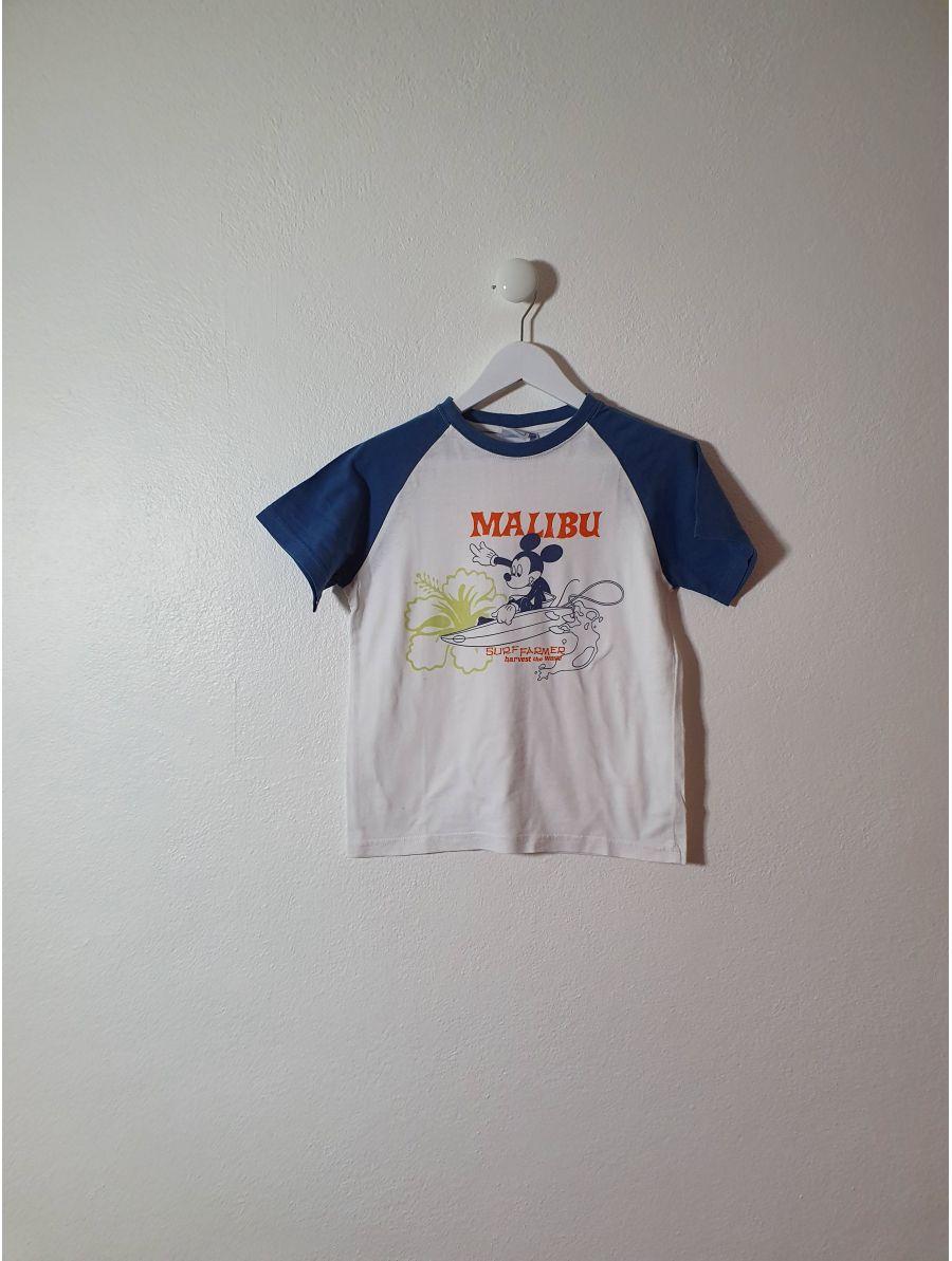 T shirt, Disney, blanc, Mickey en motif, col et retour bleu