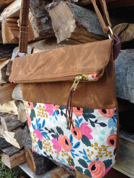 Waxed Canvas Foldover Crossbody Bag Handmade Purse With Strap Fl