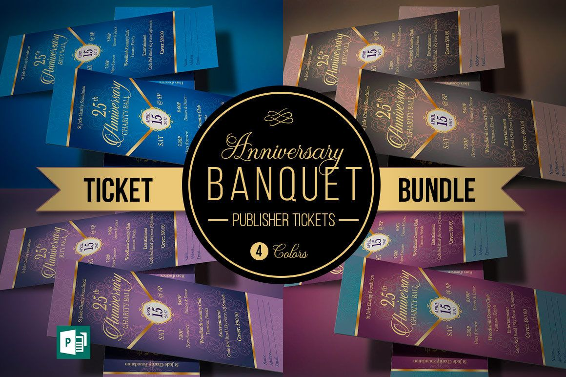 Anniversary Banquet Ticket Bundle Publisher Template (4 Tickets ...