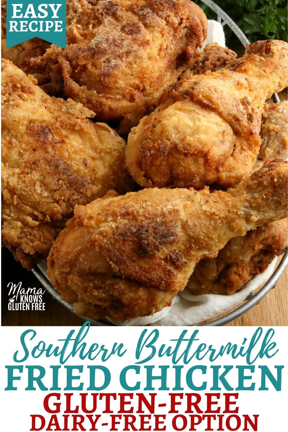 An Easy Recipe For Crispy Gluten Free Fried Chicken Made Southern Style With A Buttermilk Free Chicken Recipes Gluten Free Dairy Free Recipes Gluten Free Meat