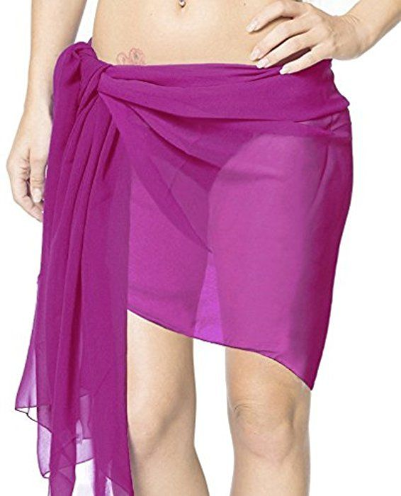 7ddf853297 La Leela Sheer Chiffon Solid Color Pareo Beach Swim Sarong Wrap Purple -  One Size