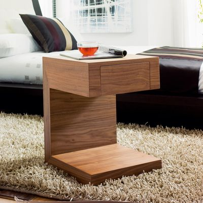 Seattle Bedside Table With Drawer Walnut Dwell 129 Table