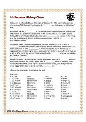 Halloween History Cloze halloween!! Pinterest Halloween history - origin of the word free