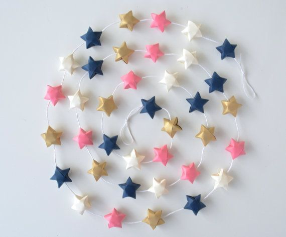 Navy blue pink gold garland, paper star garland, nursery garlands, mantle garland, teepee accessory, baby girl, baby shower décor