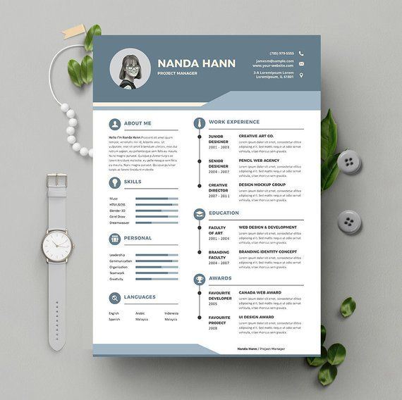 Teacher Resume Template Instant Download 2 Pages CV template +