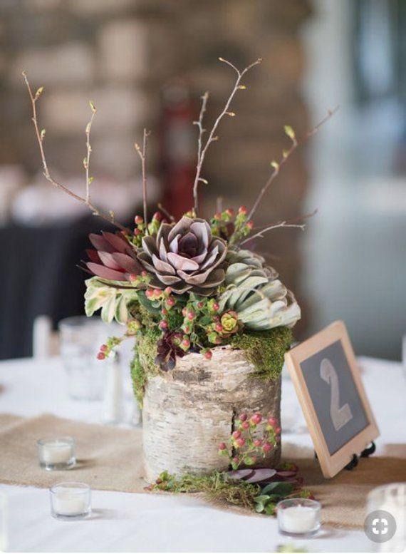 Birch Wedding centerpiece Rustic table decor Rustic Wedding decor Flower centerpiece Succulent pot Wedding decorations