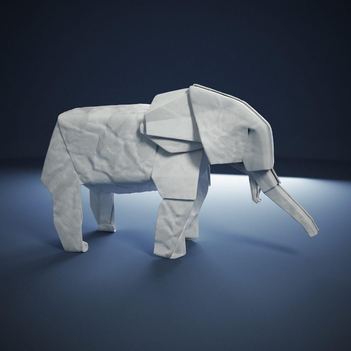 3d origami elephant 3d model 3d modeling pinterest origami 3d origami elephant 3d model jeuxipadfo Choice Image