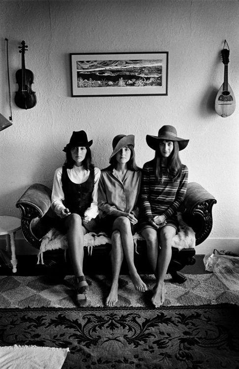 Joan Baez & Mimi Fariña & Pauline Baez, SF, 1968.    Photo by Jim Marshall