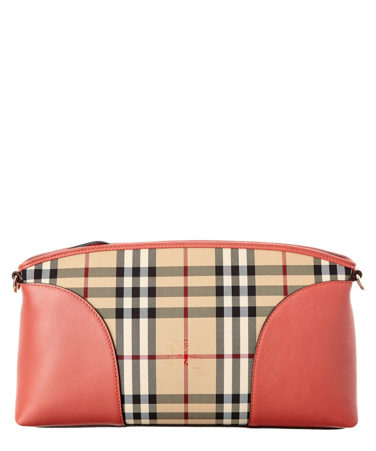 7d1b1c911311 BURBERRY Burberry Horseferry Check  Amp  Leather Clutch Bag .  burberry   bags  canvas  leather  clutch  shoulder bags  lining  hand bags