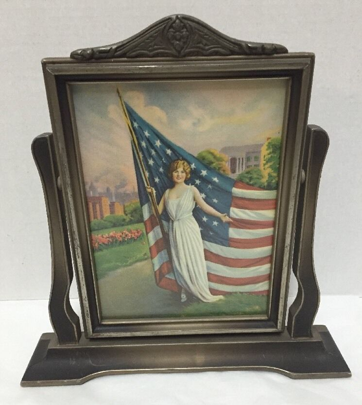 Vintage Wooden Swivel Picture Frame American Flag Woman Dress Standing Tabletop