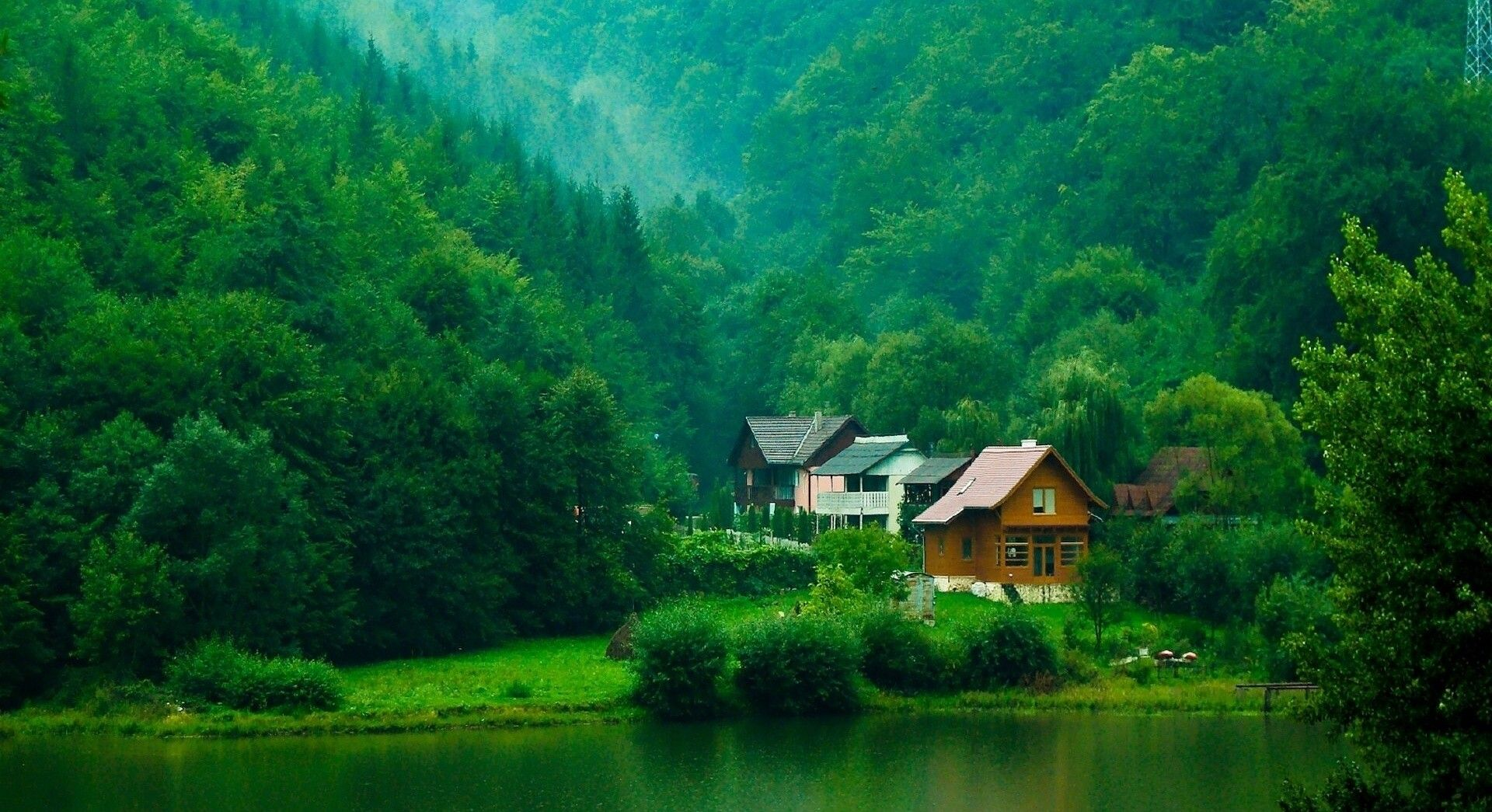 Hd wallpaper river - Beautiful Mountains River House Trees Simple Mountain Wallpaper For Mac