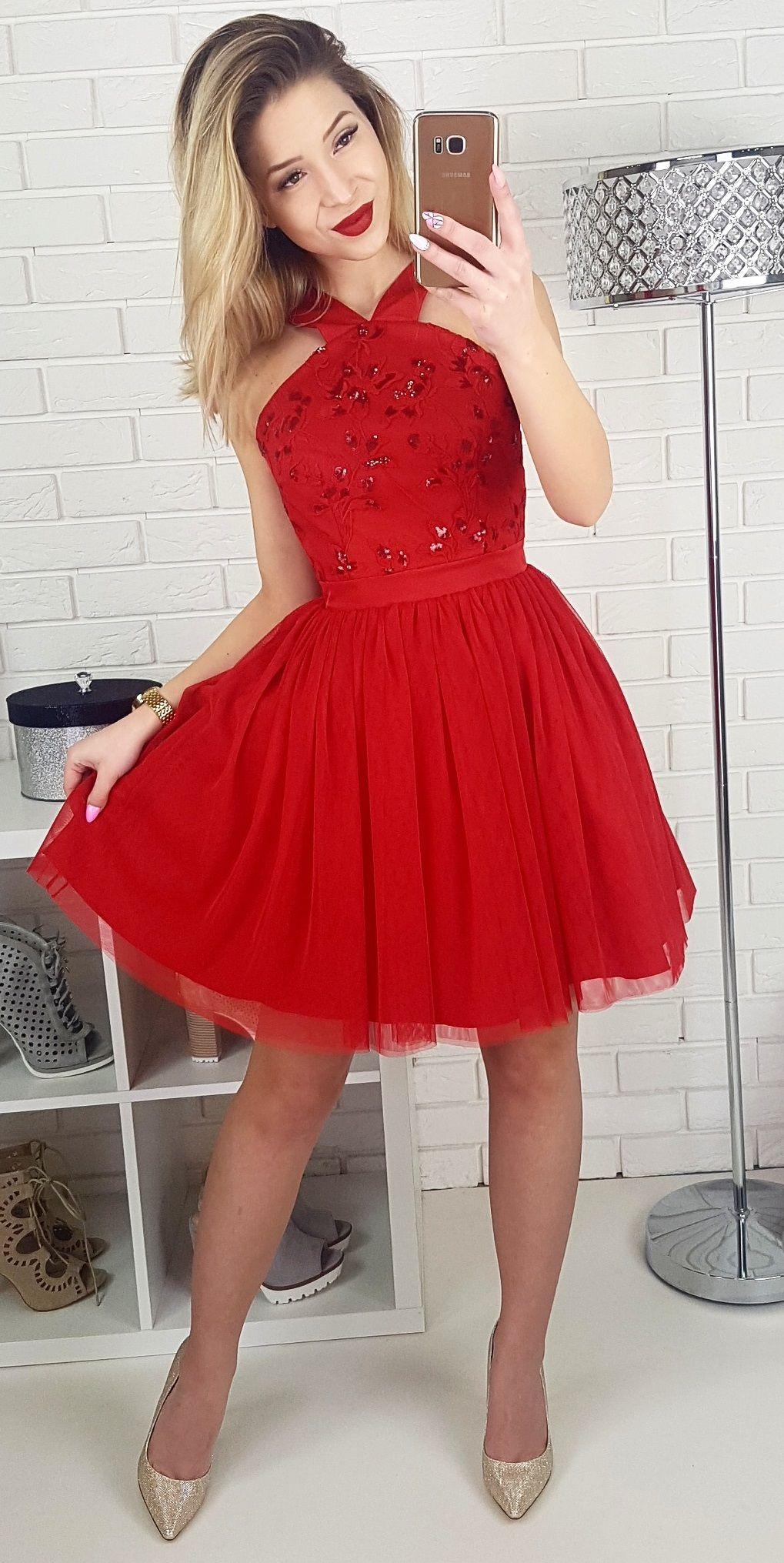 Czerwona Tiulowa Sukienka Na Wesele Red Bridesmaid Dresses Short Dresses Homecoming Dresses