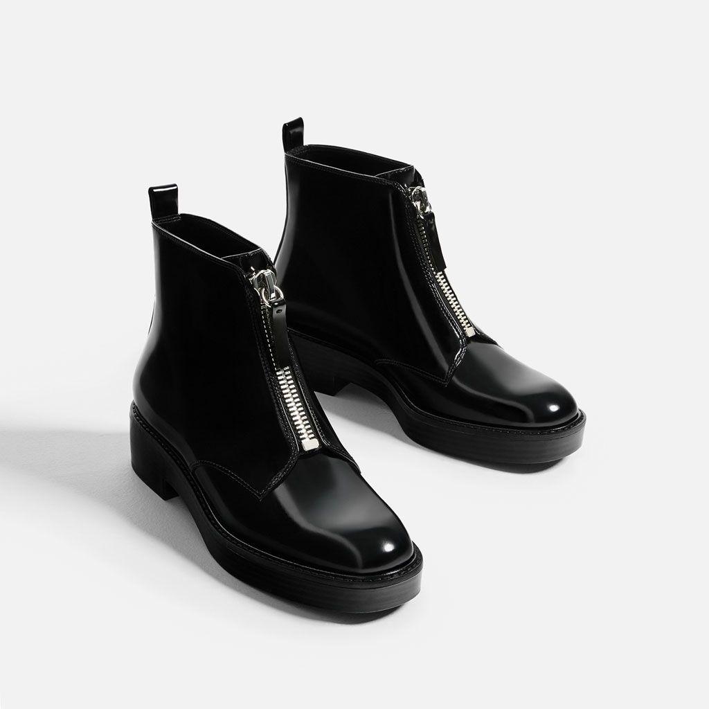 flache stiefelette mit reissverschluss stiefeletten schuhe damen zara deutschland shoes. Black Bedroom Furniture Sets. Home Design Ideas