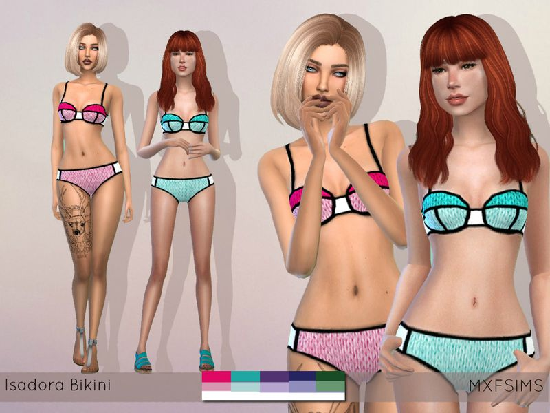 A colorblocked, knitted bikini set Found in TSR Category 'Sims 4 Female Everyday'