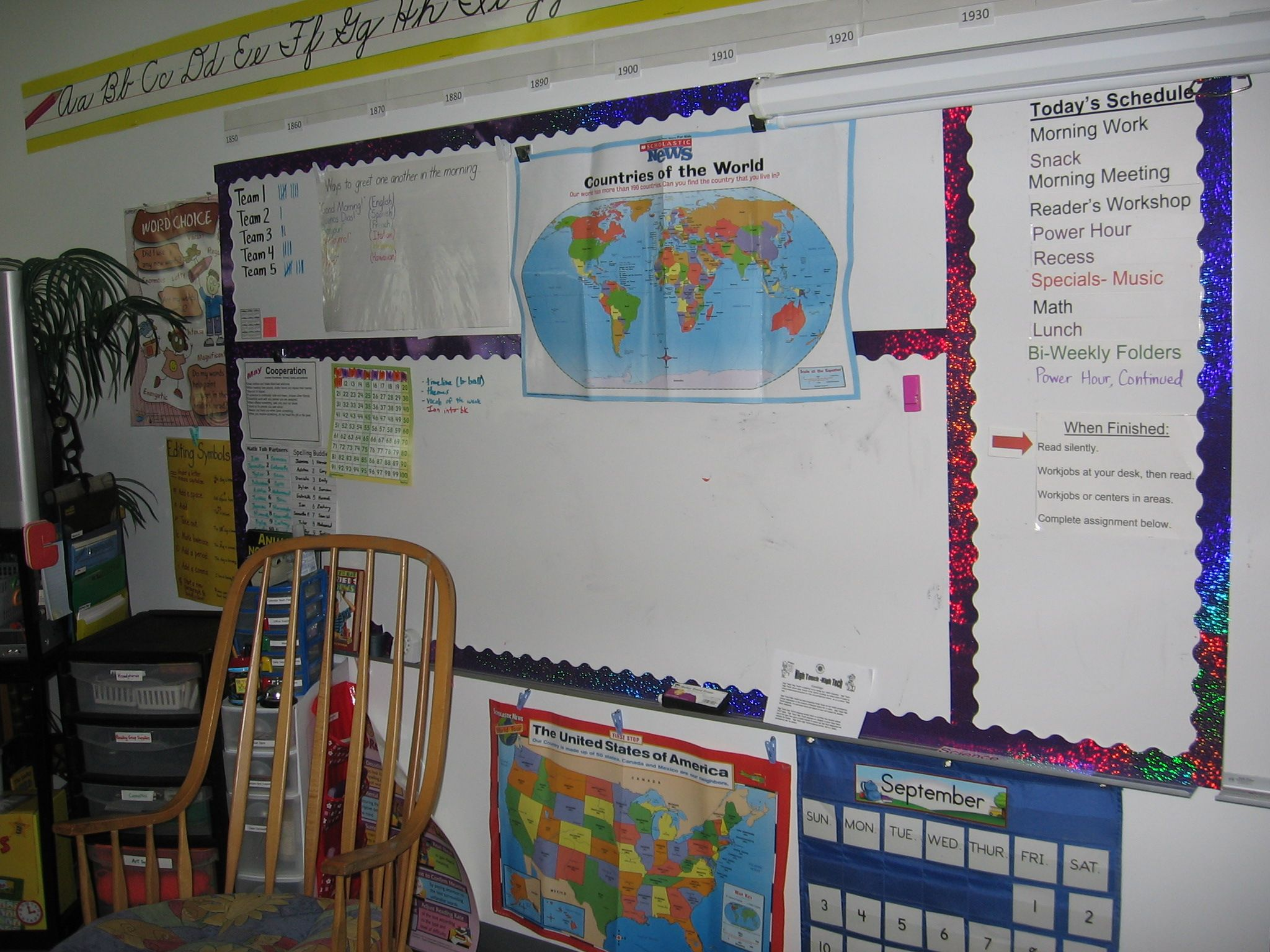 Bulletin boarders for white board sectioning - whodda thunk it?! & Creating a Cozy Classroom   Pinterest   Bulletin board Classroom ...
