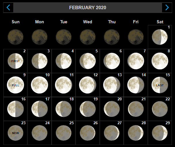 February 2020 Moon Phases Calendar New Moon and Full