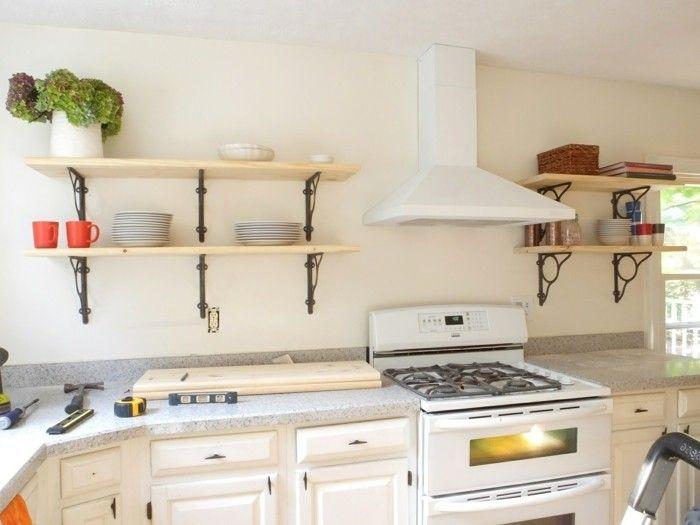 wanddesign ideen offene wandregale wohnideen küche Wandgestaltung