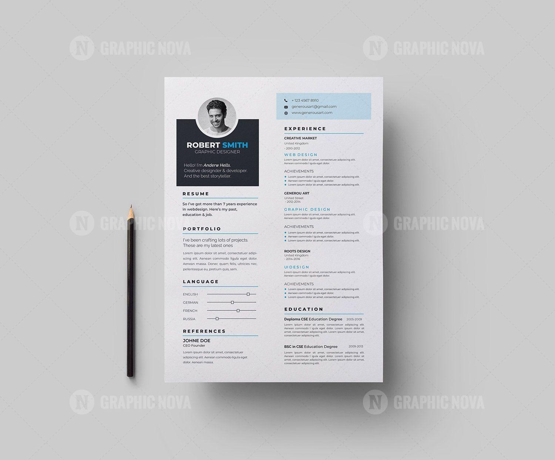 Elegant Vector Resume Cv Design Graphic Nova Stock Graphic Store Cv Design Resume Design Template Resume Cv