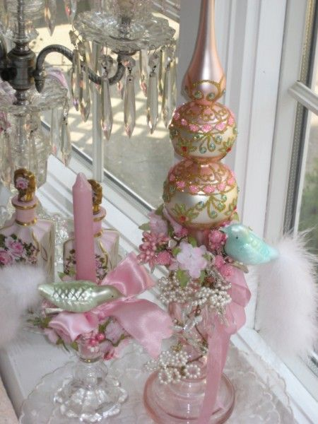 pink embellished Candle stick