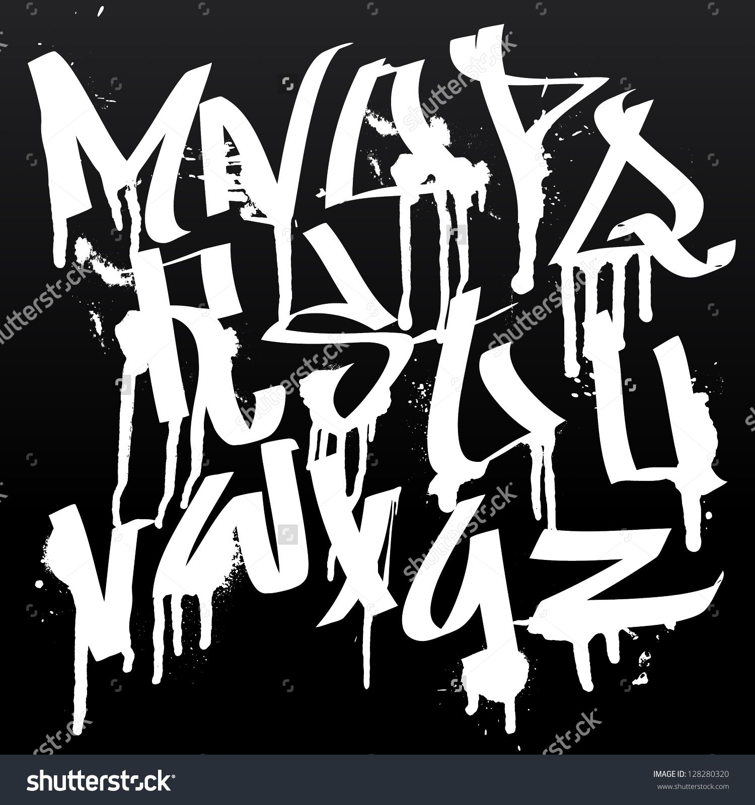 Graffiti Font Alphabet Letters  Hip Hop Type Grafitti Design