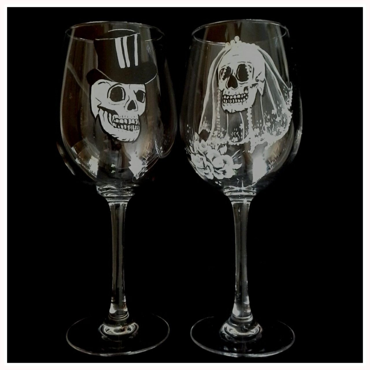 Hand painted wedding glasses with skulls hand painted wine