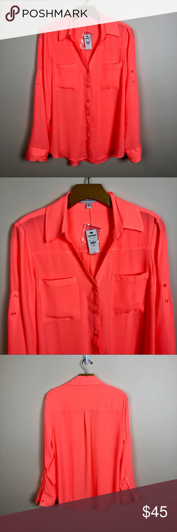 7c3e42c1a21a NWT Express Hot Neon Orange The Portofino Shirt NWT Express Hot Neon Orange  The Portofino Semi