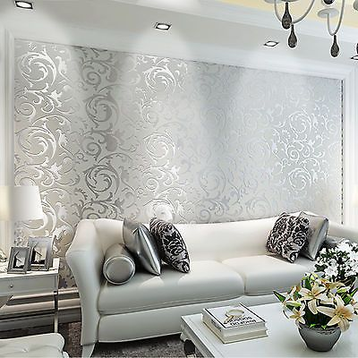 vliestapete 3d optik vlies wand tapete barock rolle wandtapete dekoration silber luxus tapete. Black Bedroom Furniture Sets. Home Design Ideas