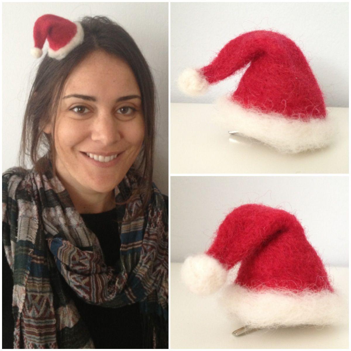 Tiny santa hat by Alison Eder minimilliner@gmail.com #hats #craft #needlefelt #tinyhat #christmas #santahat #santa
