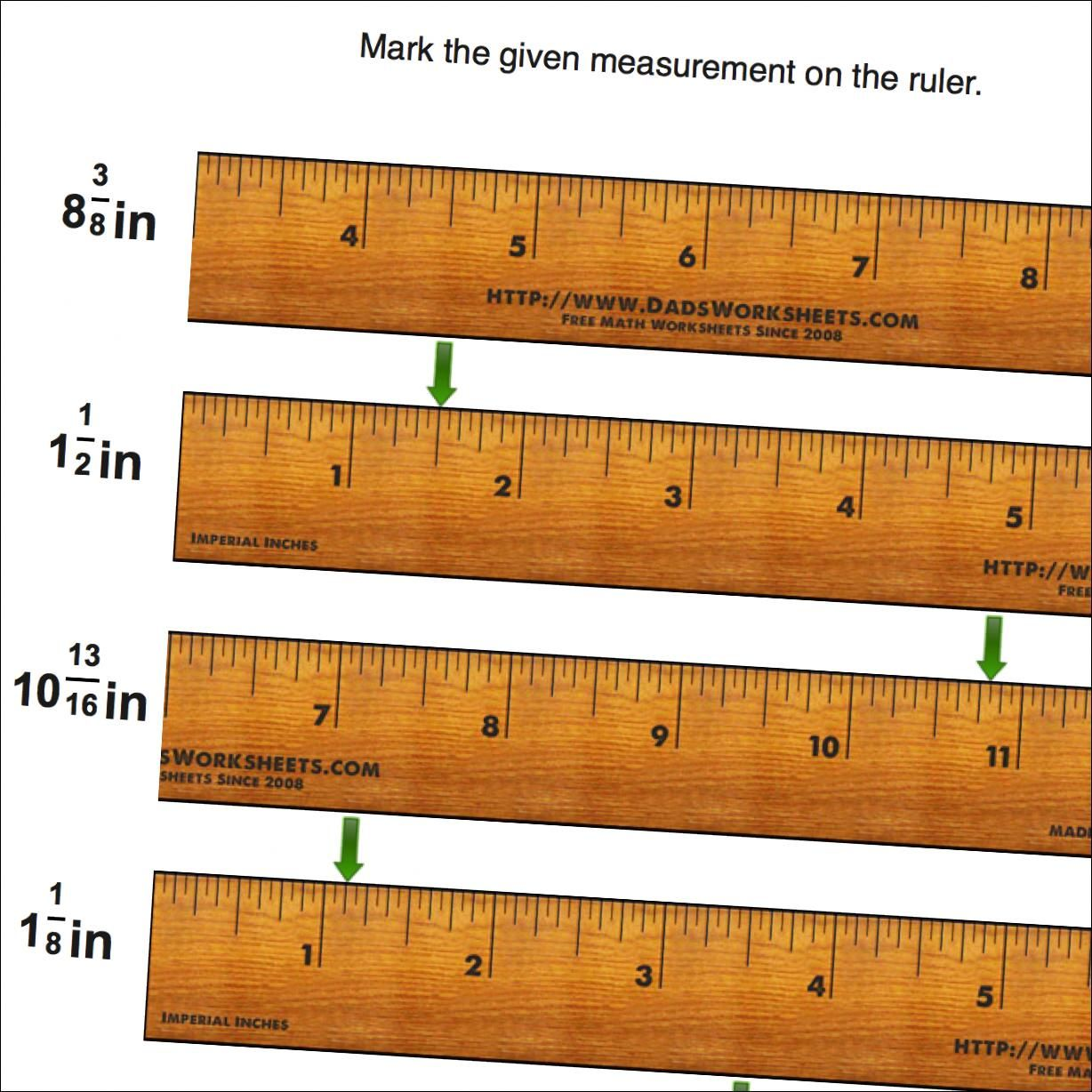 Math Worksheets Mark The Ruler