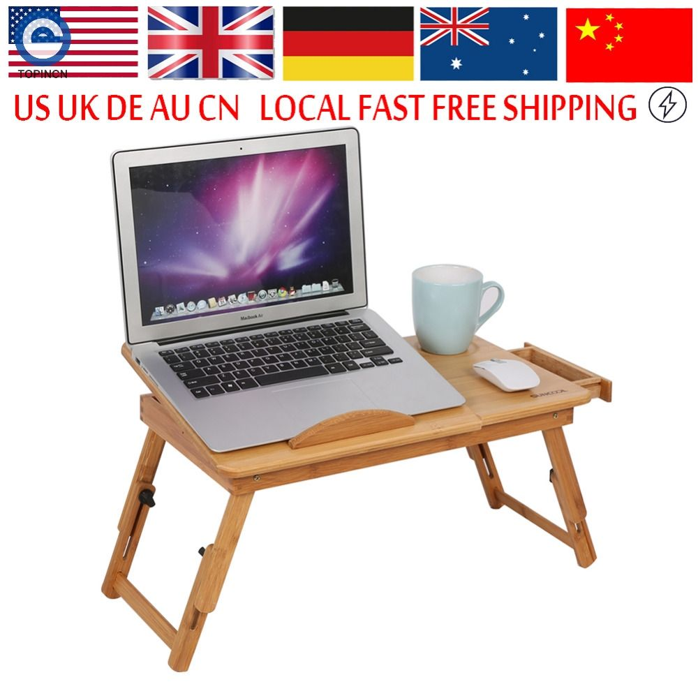 Adjule Computer Desk Portable Bamboo Laptop Folding Table Foldable Stand Notebook Bed