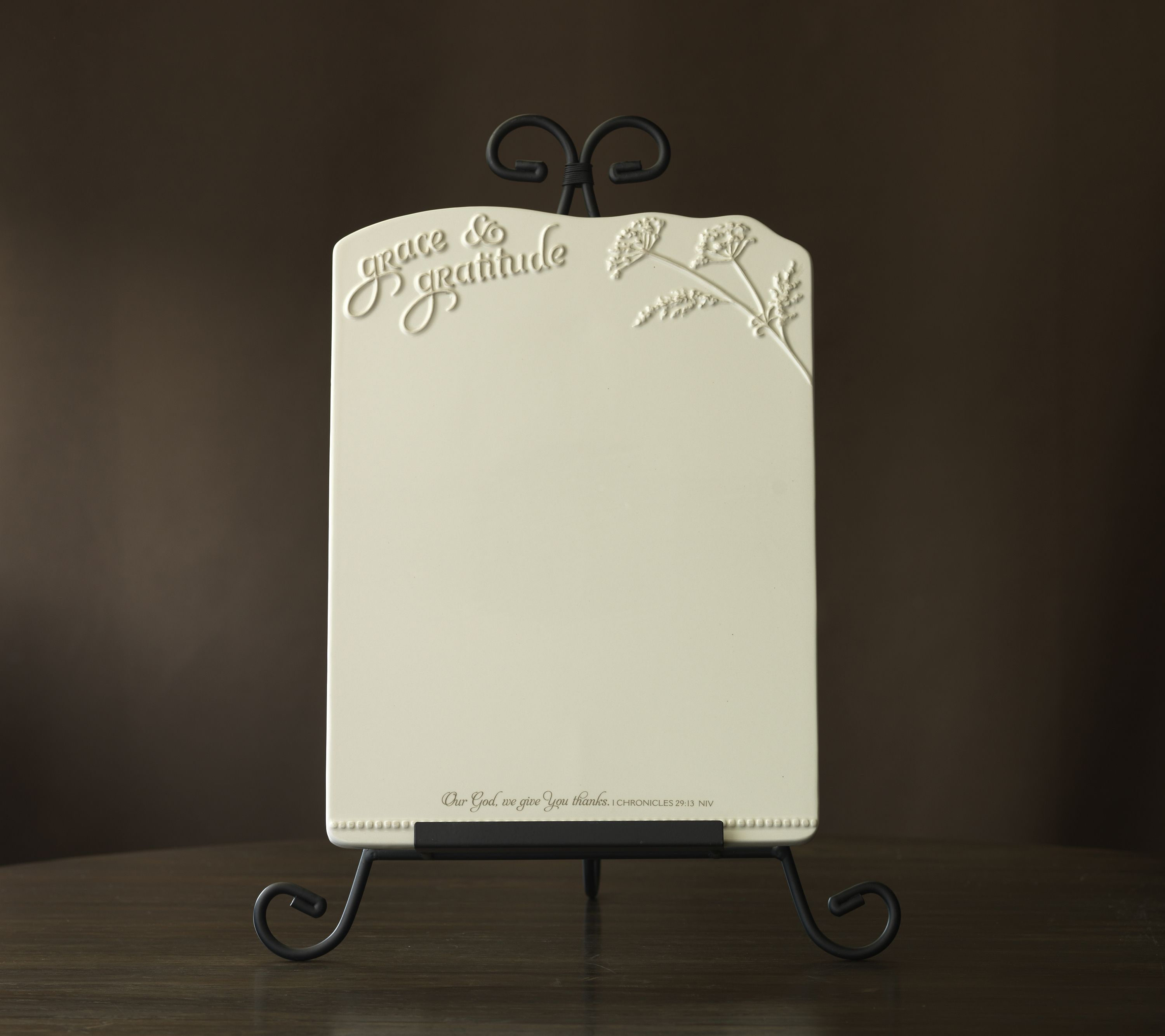 Memo Board With Easel Reads Grace Gratitude 1 Chronicles 29 13 Niv 12 X 9 Ceramic Board Wipe Mary And Martha Beautiful Entertaining Make It Simple