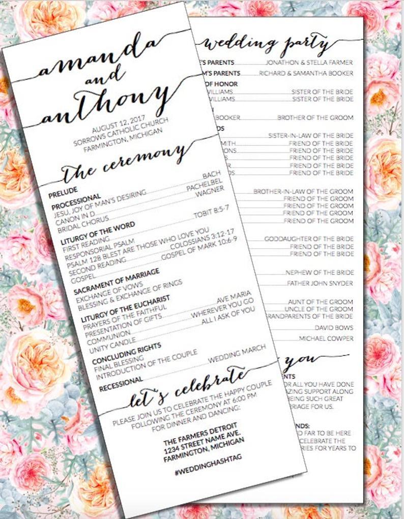 Wedding Program Catholic Ceremony Rustic Wedding Etsy