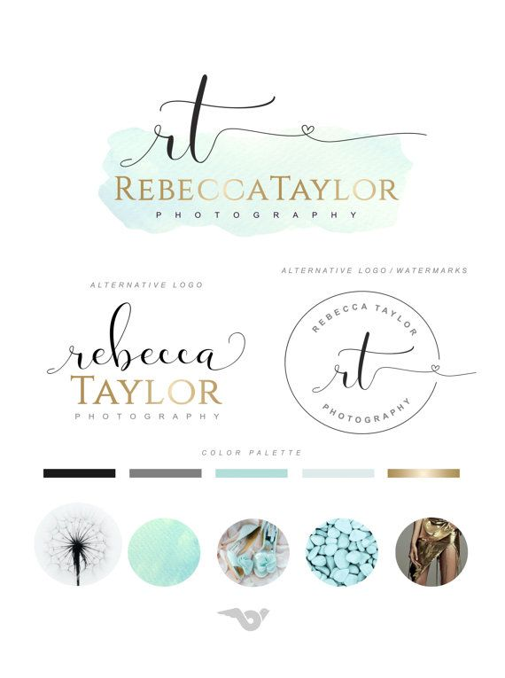 Branding Kit Watercolor Logo Photography Logo Set Premade Etsy Photography Logos Watercolor Logo Calligraphy Logo