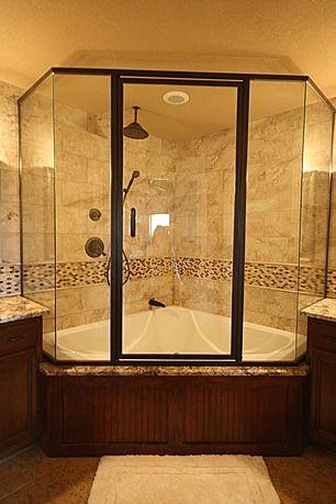 Great Craftsman Master Bathroom Love The Setup But With Lighter Colors Corner Tub Shower