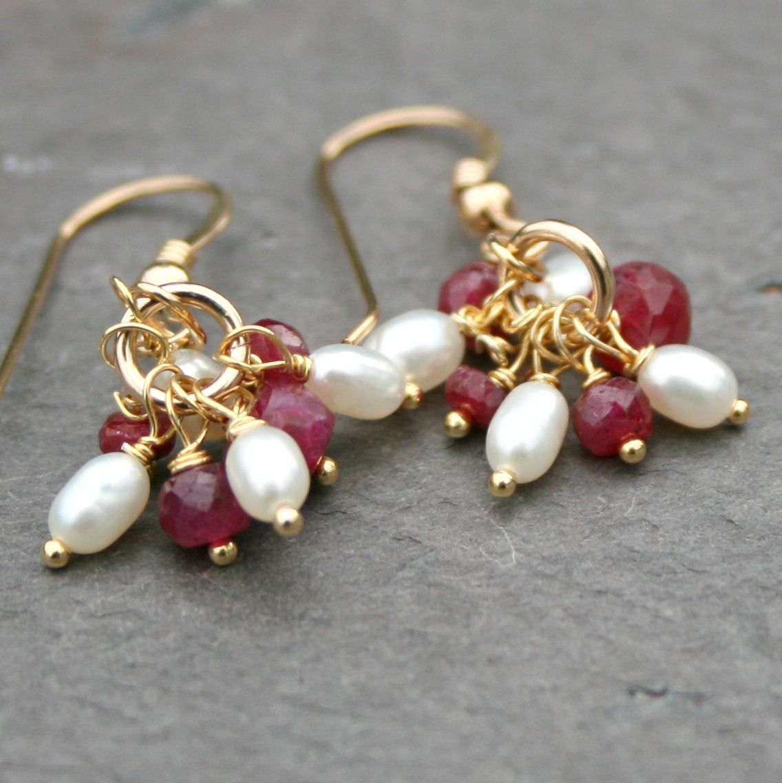 Ruby FW Pearl Cluster Earrings 14k Gold Fill by Maggie McMane Designs. $38.00, via Etsy.